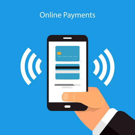 Online payment with a mobile phone on a blue background