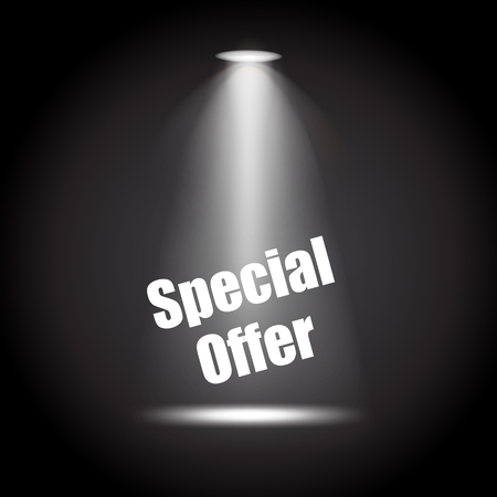 Spotlight with Special offer scene black background stylish