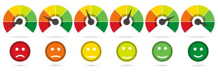 Schaal van rood naar groen met pijl en schaal van emoties Stockfoto - 75488587