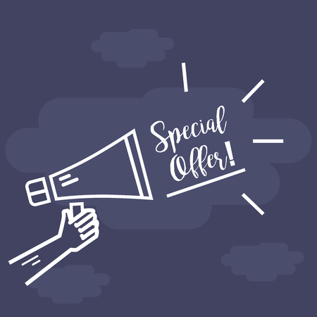 hands holding sign: Megaphone in hand with lettering special offer, flat style