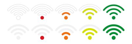 白い背景に、フラット スタイルの Wifi 信号強度アイコン