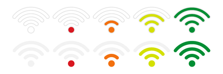 Wifi signal strength icons on a white background, flat style