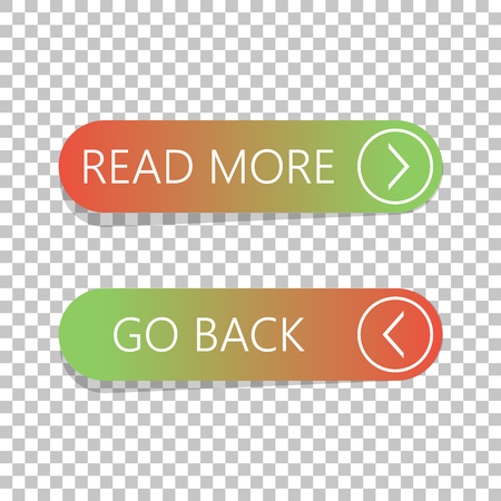 Read More And Go Back Button Set On Isolated Background Stock Vector