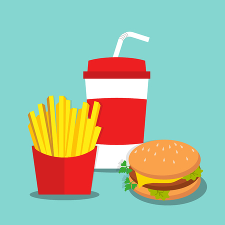 French Fries with Soda and burger in flat style Illustration