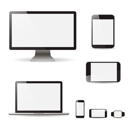 Set realistic Monitors laptop tablet and phone vector illustration Ilustração