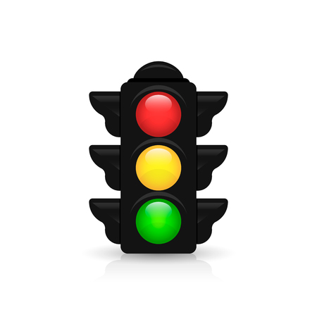 trafic stop: Traffic light with reflection and shadow on white background