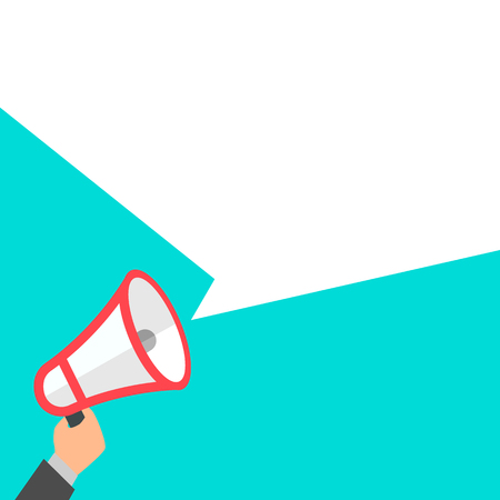 Megaphone in hand announcement, vector illustration, stylish design