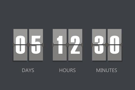 Flip Countdown timer. Flat style, sign vector illustration
