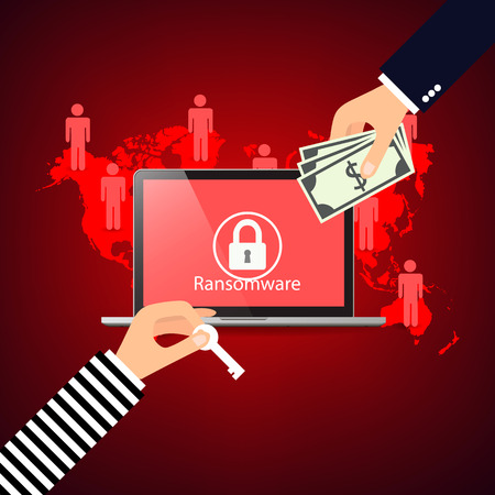 Hacking email adresses programs ransomware, red background vector