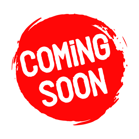 Coming soon stamp red grunge on white background Stock Illustratie