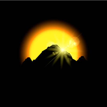 Eclipse sunset in space mountains, a vector illustration