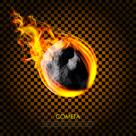 Flying asteroid comet on fire isolated background