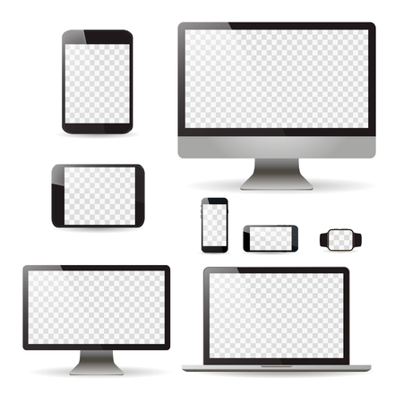 Mockup set realistic Monitors laptop tablet and phone, vector illustration