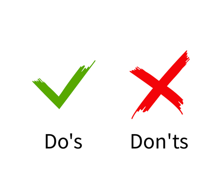 Dos and Donts, Check mark with cross flat design, vector