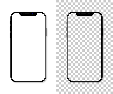 New version of black slim smartphone with blank white screen, Realistic vector illustration