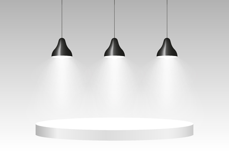 Lamps with light on the wall, stylish vector Vectores