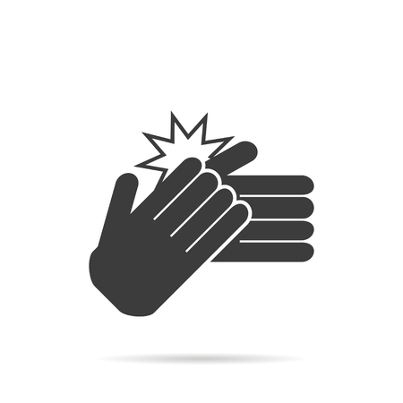 Icon clapping hands on white background, vector