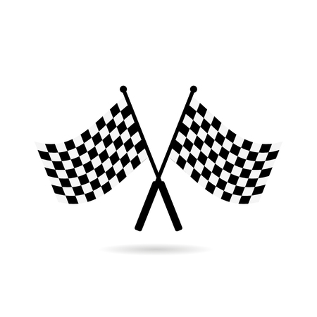 Racing flag finish with shadow on white background, icon
