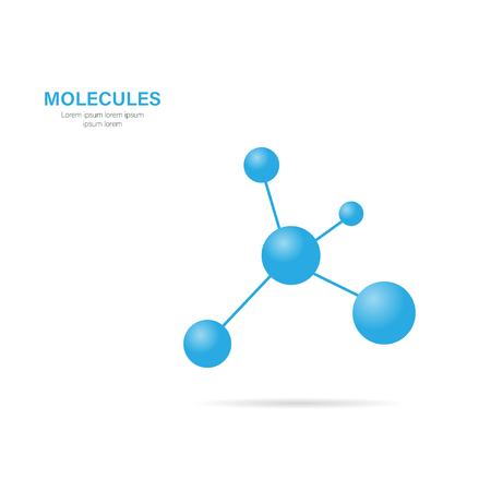 Molecule with shadow on a white background, vector