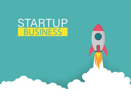 Startup rocket up business project, vector illustration