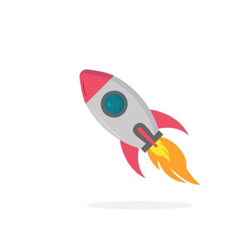 Rocket icon on white background, vector illustration