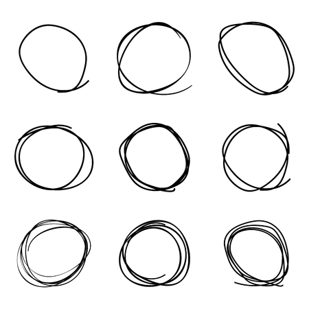 Scribble circles set, on a white background