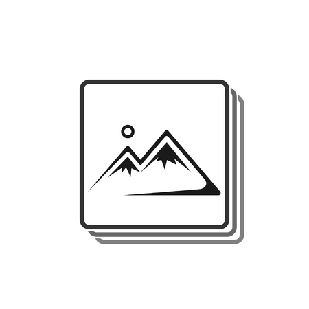 Picture frame icon on white background in flat style