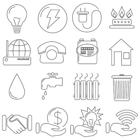 Ensemble d'icônes dans le style de ligne, gaz communal, électricité