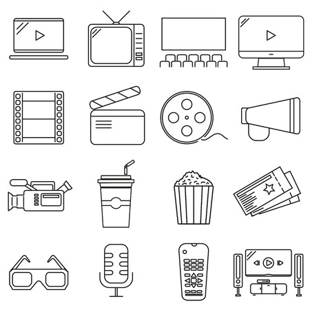 Set of icons in line style, cinema
