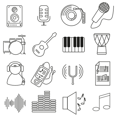 Set of icons in line style, musical instruments are different