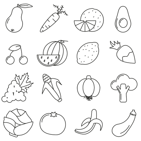Set of icons in line style, vegetables 일러스트
