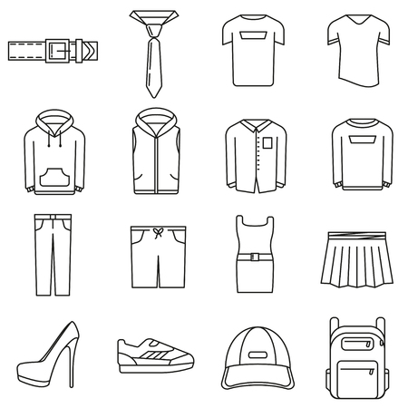 Icons on the theme of women's and men's clothing in style of lines