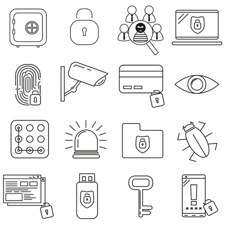 Security icons on a white background set, vector