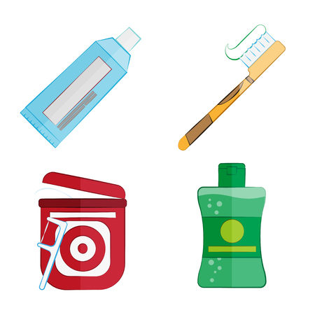 Hygiene products for teeth in a flat style, vector