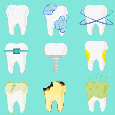 Set of different teeth, implant, caries, clean tooth