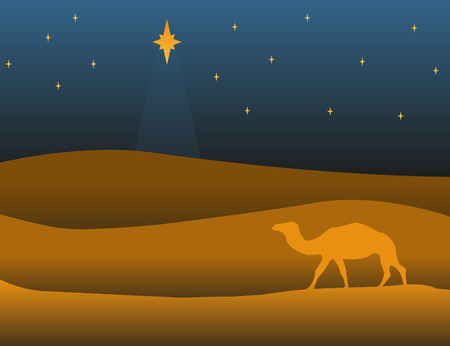 Postcard banner merry christmas with camel, vector illustration 向量圖像