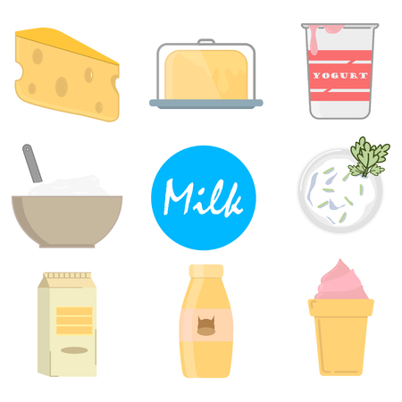 Set milk icons in flat style, on a white background, vector Vettoriali