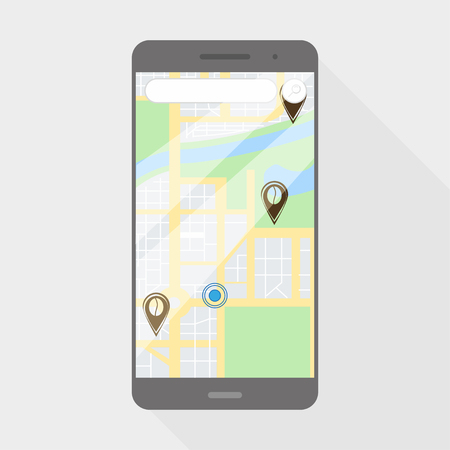 Phone with map, flat style on a grey background, vector