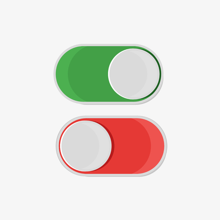 On and off button in flat style, on a white background, vector