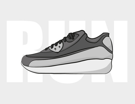 Run shoe in flat style, on a grey background, vector  イラスト・ベクター素材