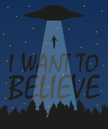 I want to believe illustration, stylish design with silhouette, vector 일러스트
