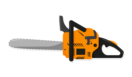 Chainsaw in flat style on white background, vector