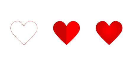 Hearth set icon red colored on a white background, valentine day, vector