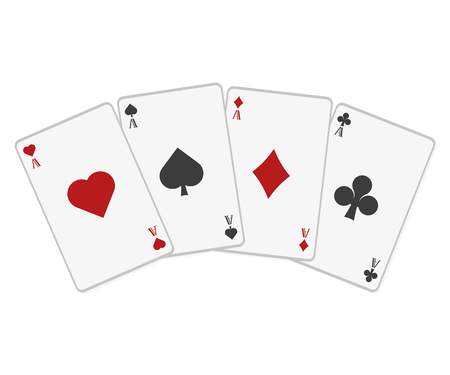 Poker cards in flat style on a white background, vector Illustration