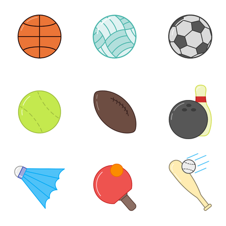 Sports ball set in flat style on white background, vector