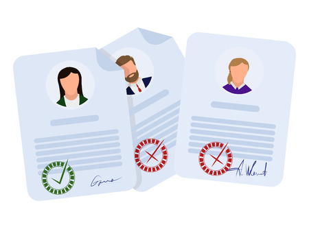 Document accepted and rejected, in flat style on a white background, vector Reklamní fotografie - 117389876