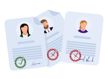 Document geaccepteerd en afgewezen, in vlakke stijl op een witte achtergrond, vector