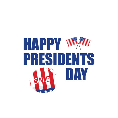 Happy Presidents day sale in flat design, vector illustration