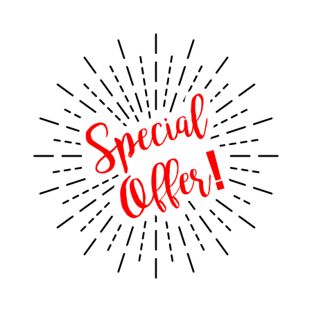 Special offer with burst on a white background, vector Stock Illustratie