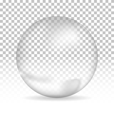 Water bubble with shadow on isolated background, vector illustration